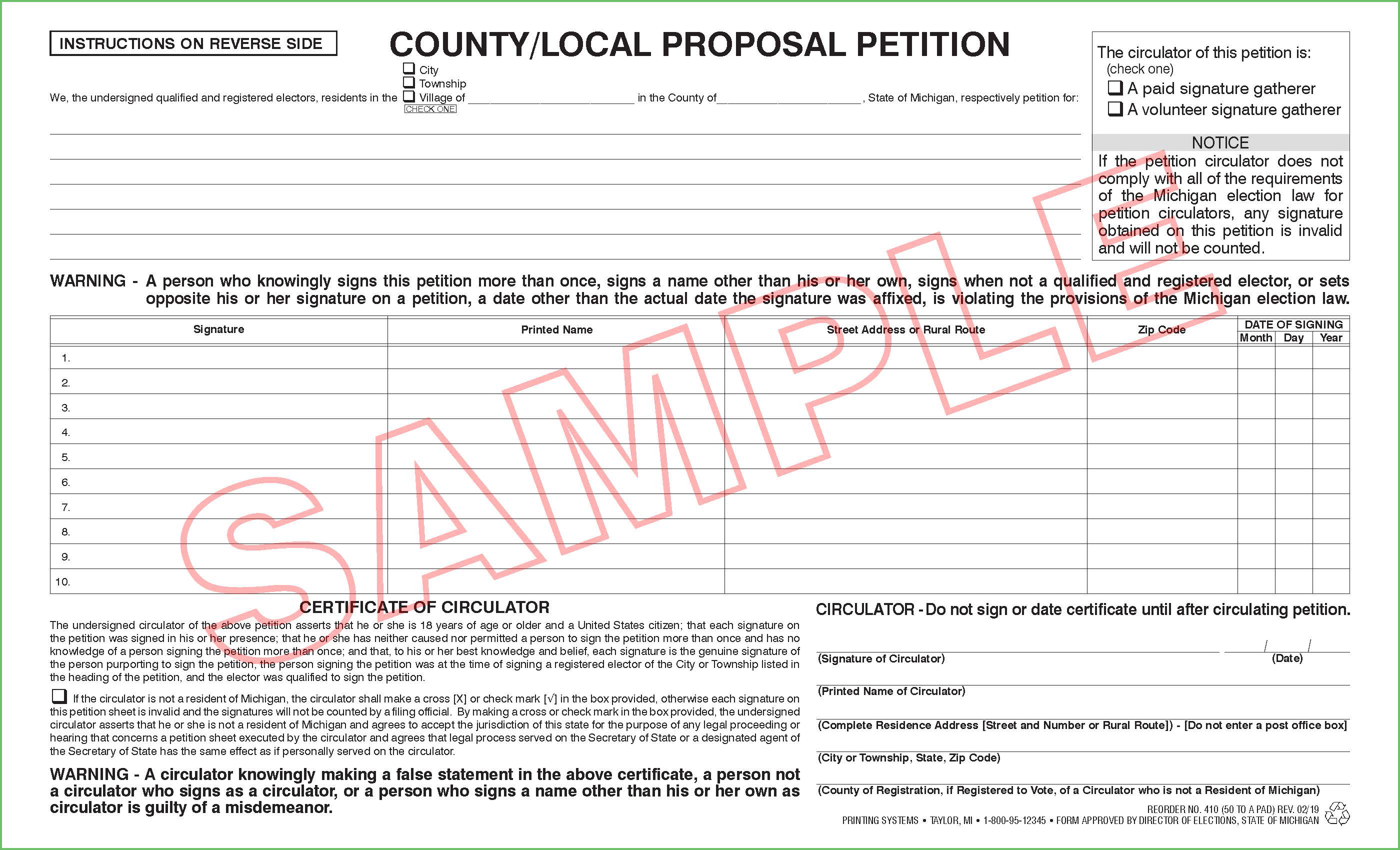410 County/Local Proposal Petition (Ci/Twp/Village) (50 per pad)