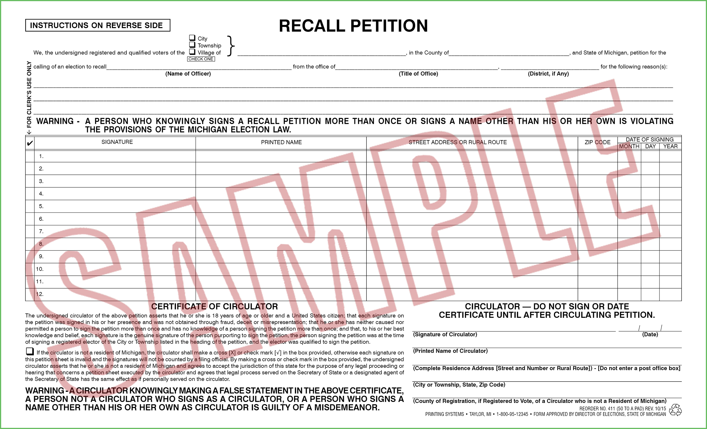 411 Recall Petition (Ci/Twp/Village) (50 per pad) Rev. 02/15