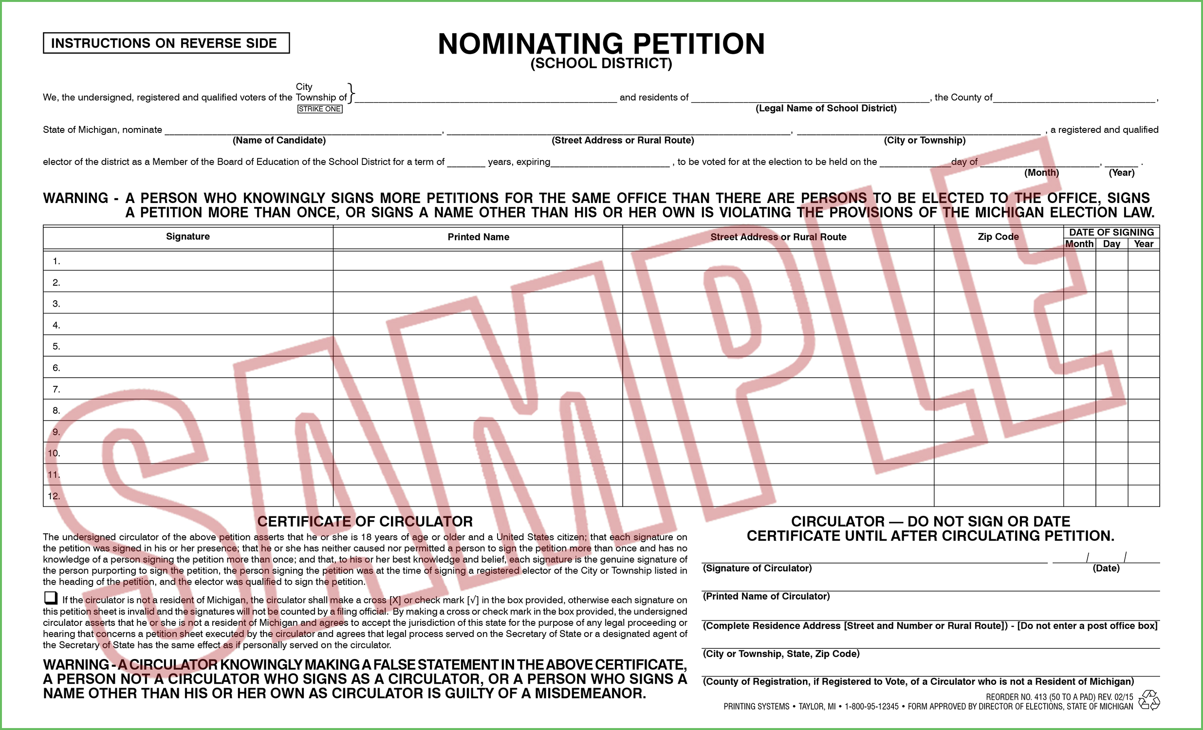 413 Nominating Petition (School District) (50 per pad) Rev. 02/15