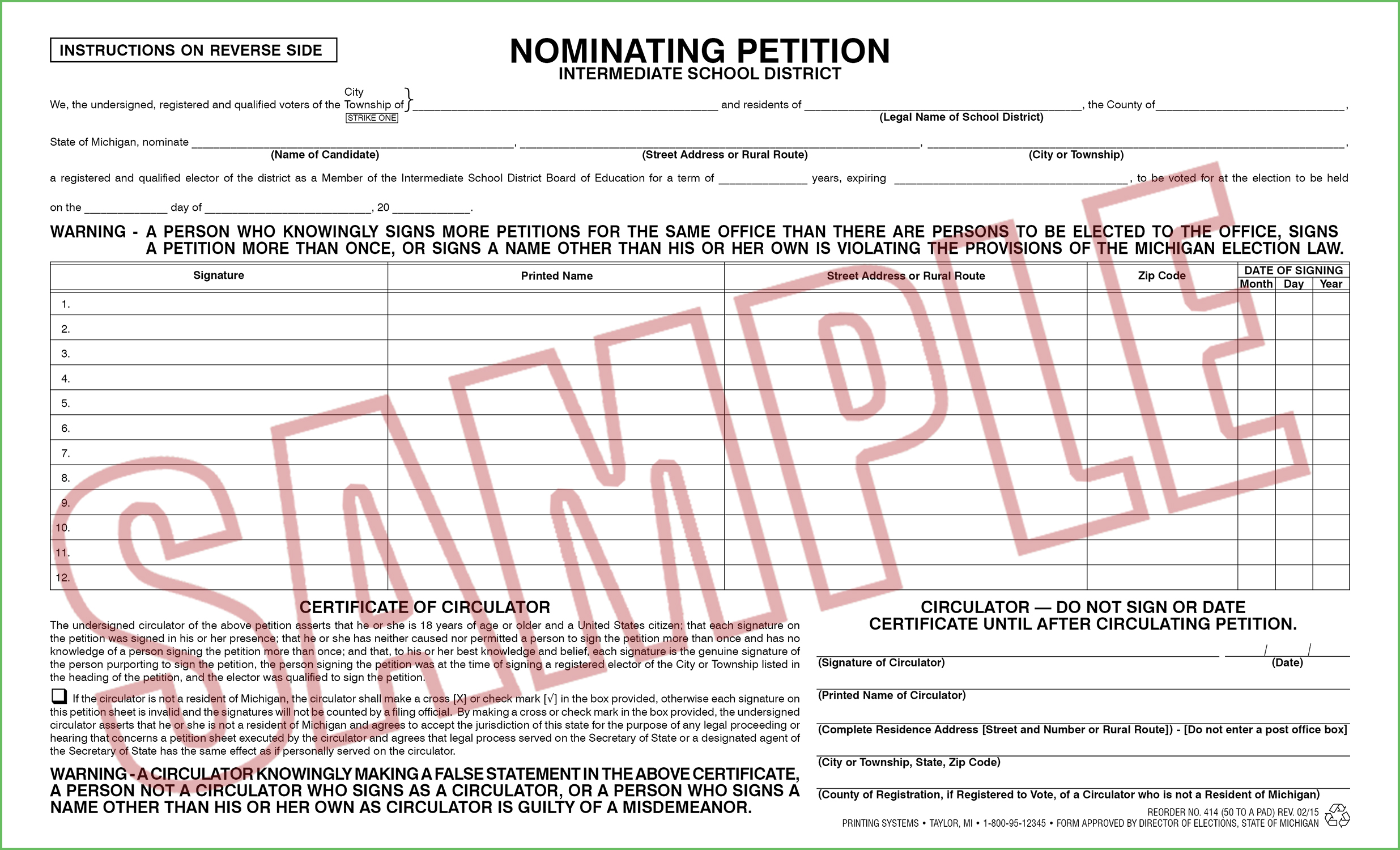 414 Nominating Petition (Intermediate School District) (50 per pad) Rev. 02/15