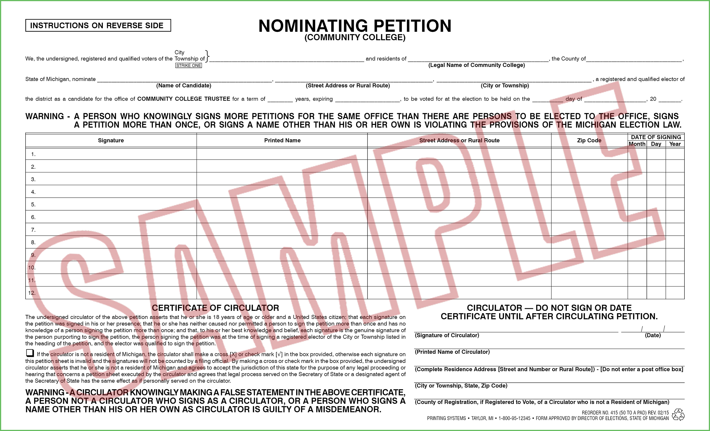 415 Nominating Petition (Community College) (50 per pad) Rev. 02/15