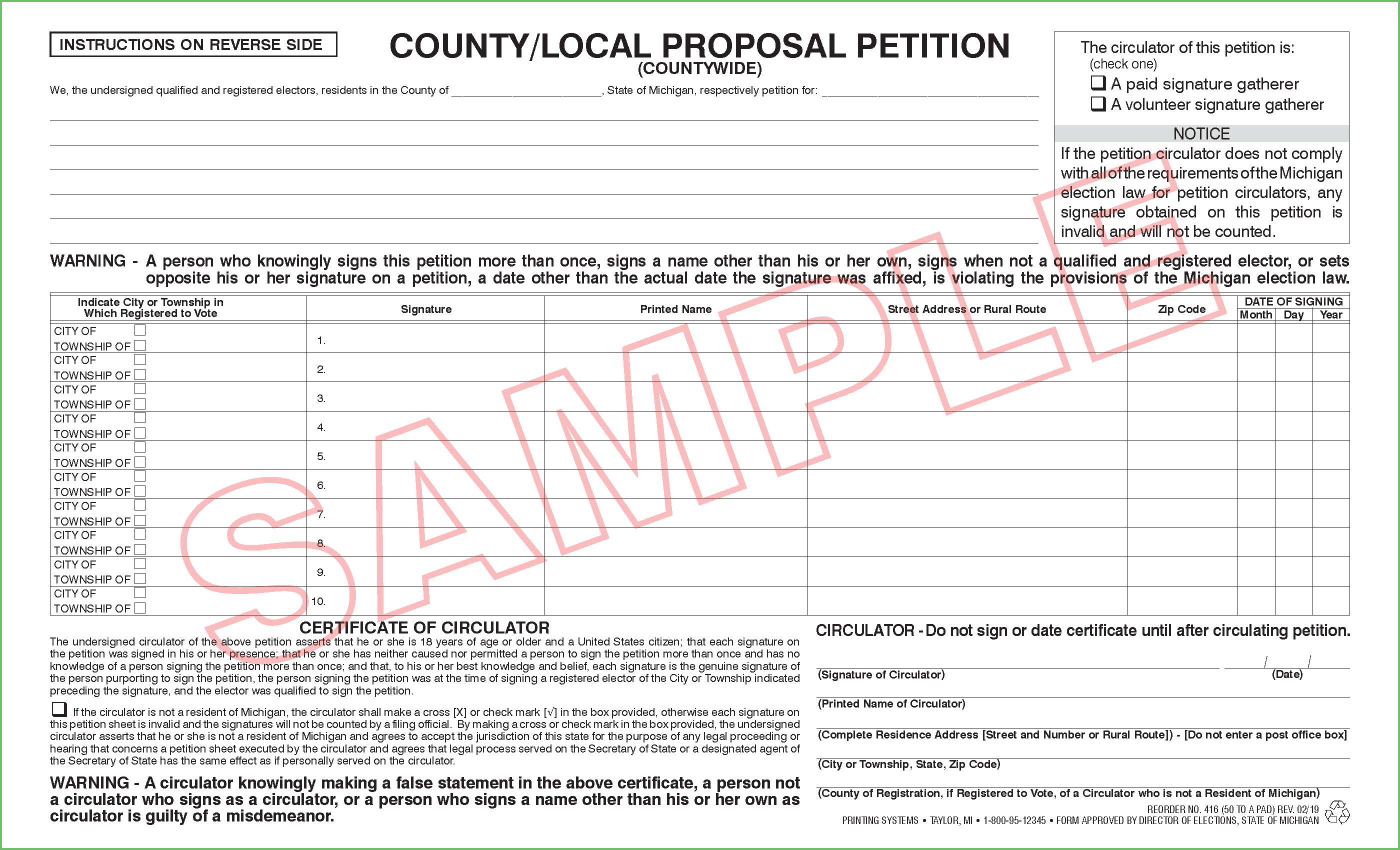 416 County/Local Proposal Petition (Countywide) (50 per pad) Rev. 10/19