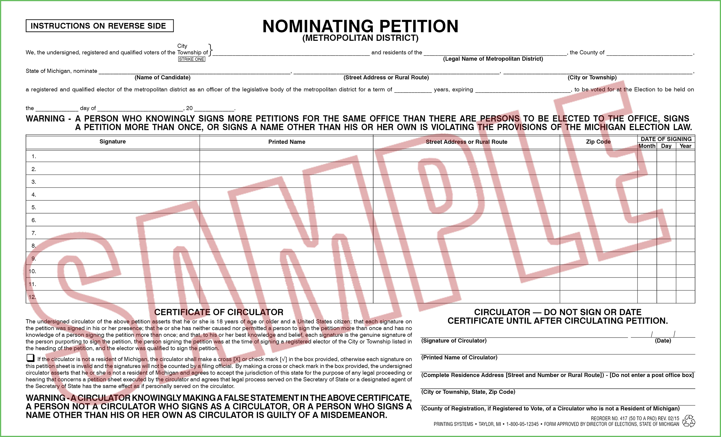 417 Nominating Petition - Metropolitan District (50 per pad)