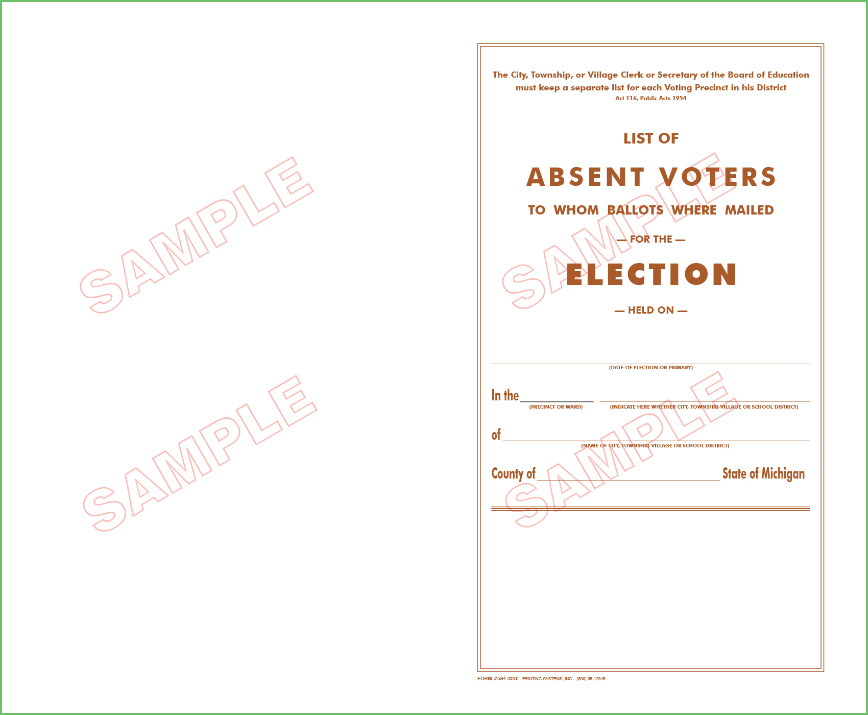 584 List of Absent Voters (24 Names)