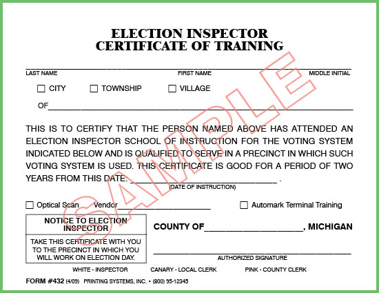 432 Election Inspector Certificate of Training