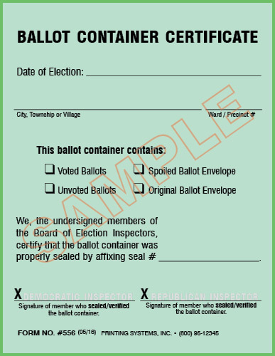 556 Ballot Container Certificate