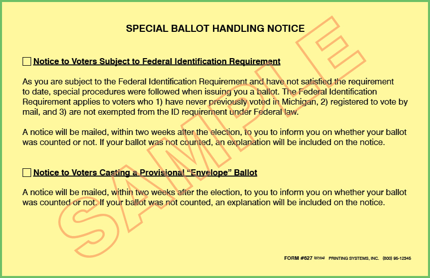 627 Provisional Special Ballot Handling Notice to Voter