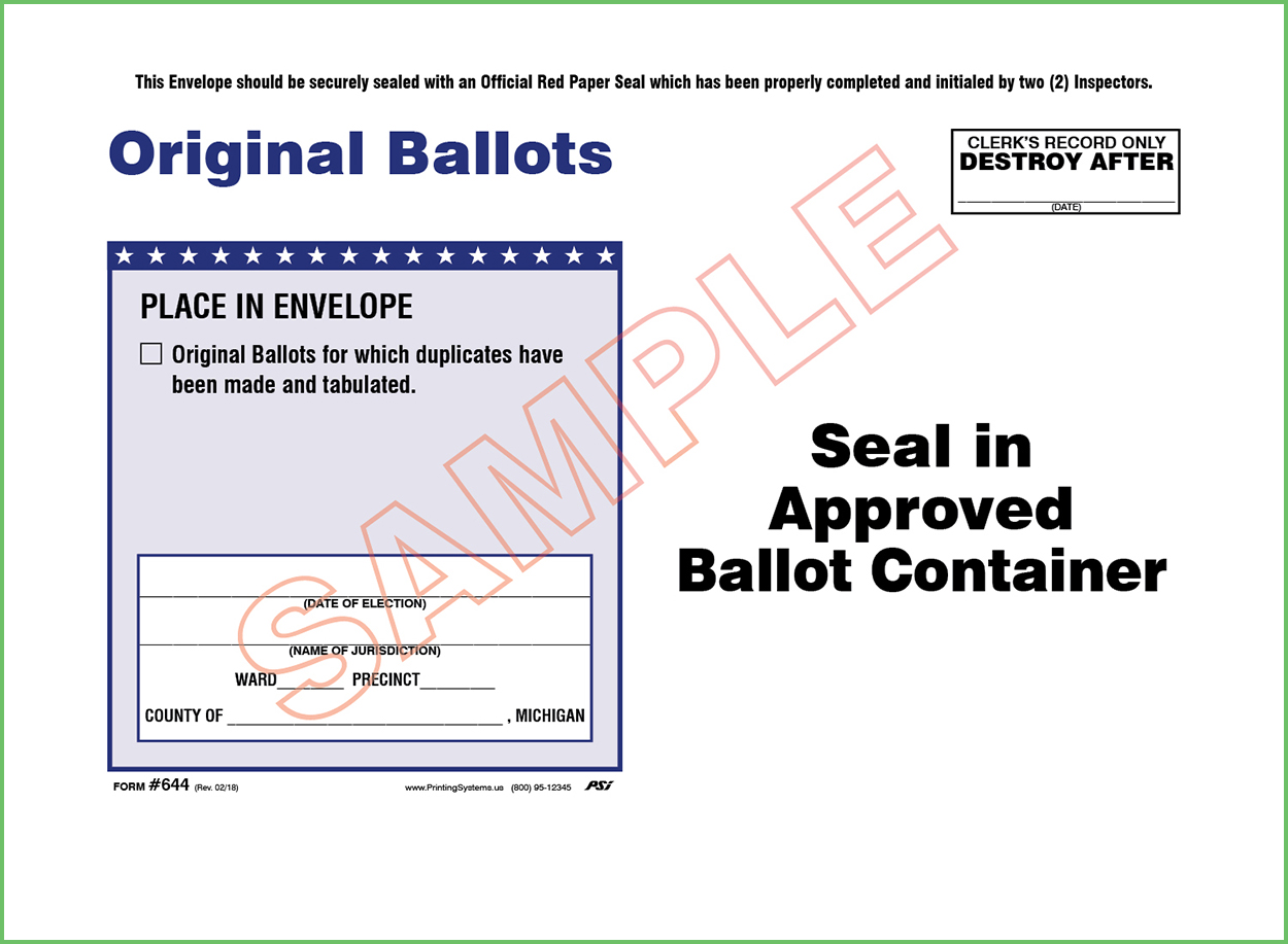 644 Original Ballots For Which Duplicates Were Made