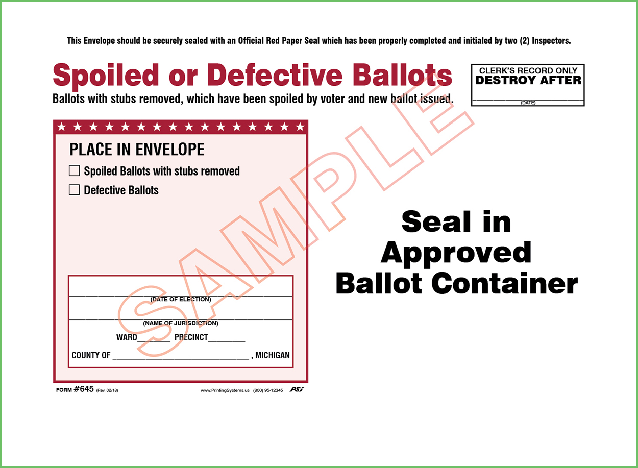 645 Spoiled/Defective Ballots Envelope