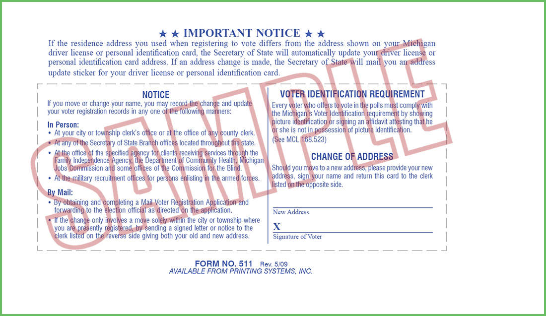Printing Systems · 511 Voter ID Card (Manual) -Stock