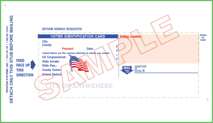 Voter ID Card (QVF) - Custom (No Mailing) 7.33 x 4.25
