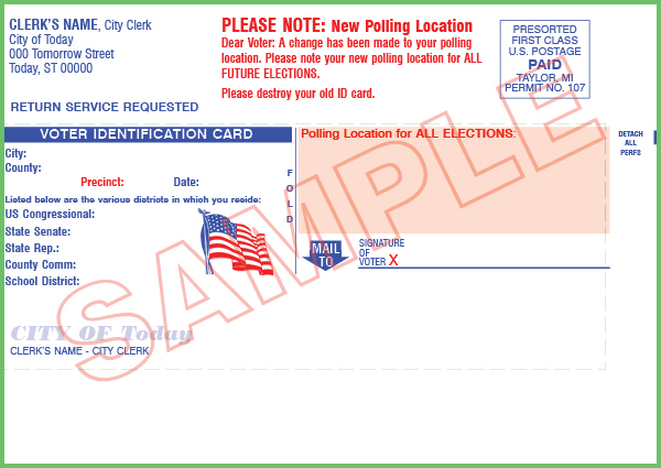 Voter ID Card - First Class Size - Custom (With Mailing)