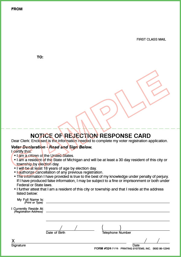 524 Stock Notice of Rejection Response Card (100 per Pkg.)
