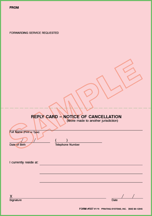 557 Stock Cancellation Notice (Move Made to Another Juris.) Response Card (100 per Pkg.)
