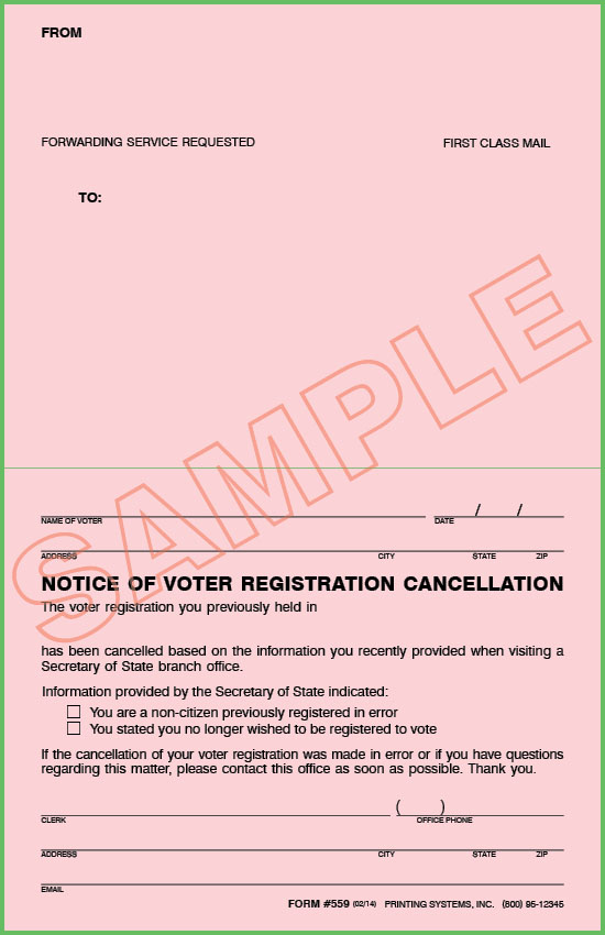559 Stock Notice of Voter Registration Cancellation (100 per Pkg.)