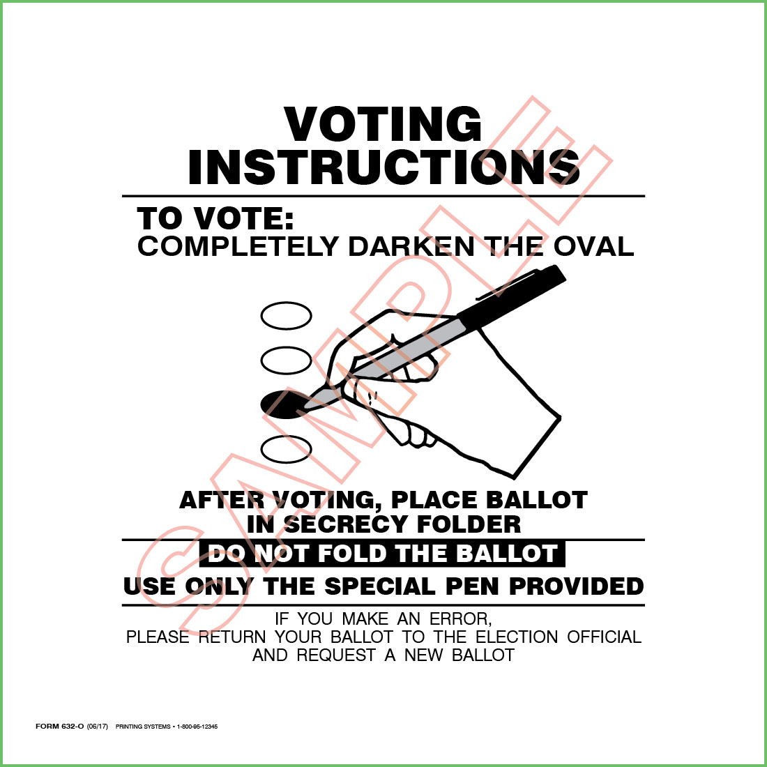 632 Voting Booth Instruction Placard (Ovals)
