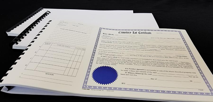 990 Cemetery Lot Certificate Books (50 per Book)