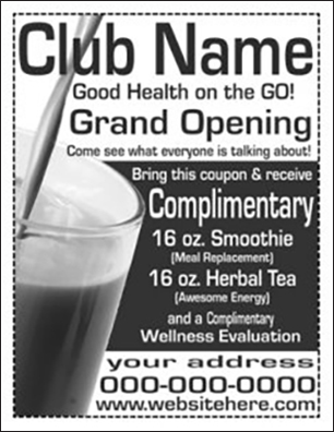 Nutrition Club ¼ Page Flyer