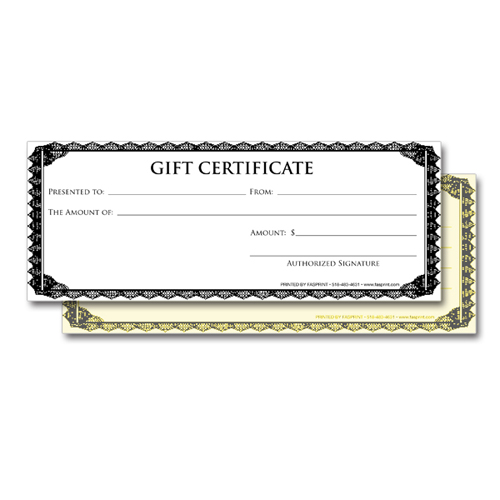 Gift Certificate 2 Part