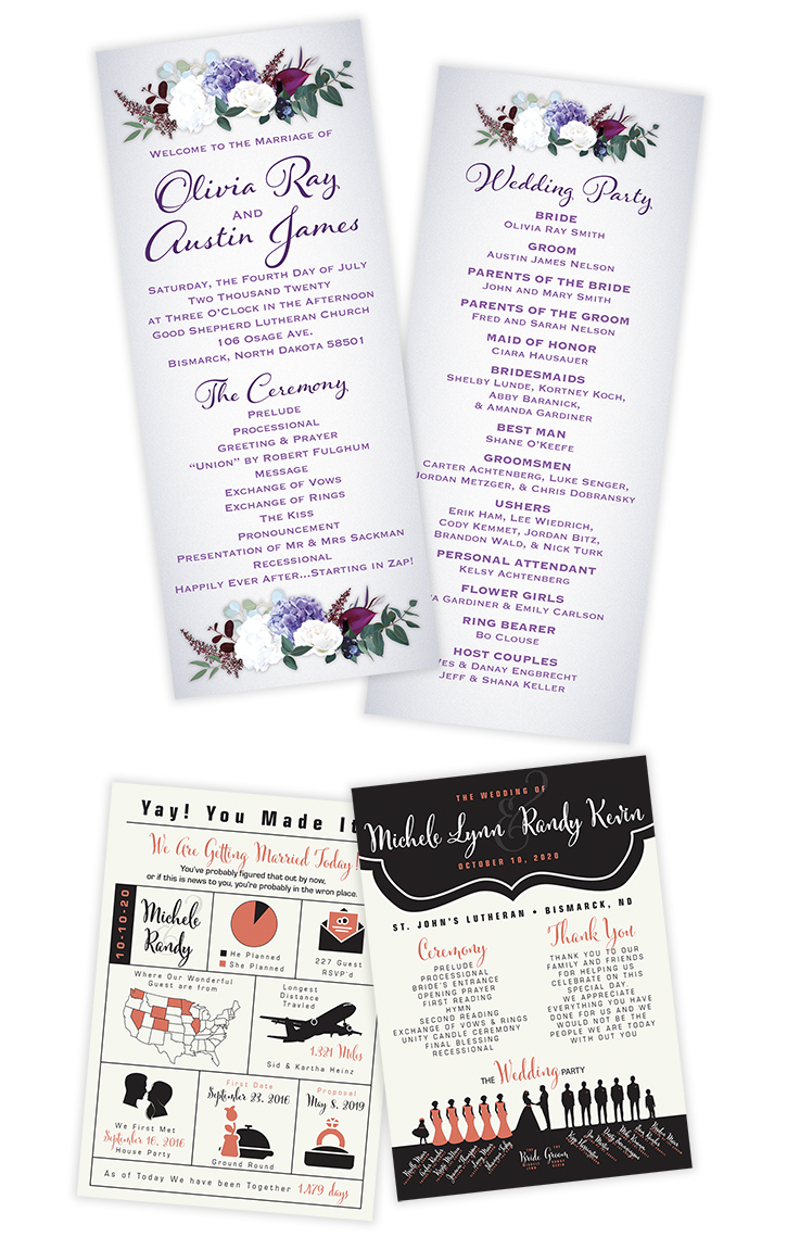 Wedding Printing Programs Flat Cards