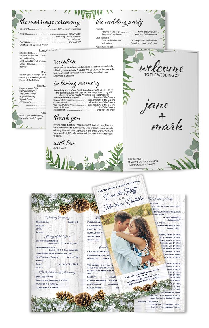 Wedding Printing Programs Folded Sheets