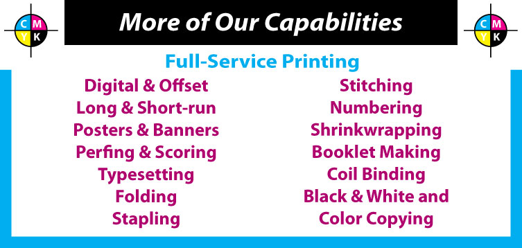 Full Service Printing, Digital & Offset, Posters, Banners, Bindery, Booklet Making